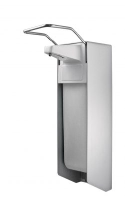 TEMDEX Desinfektionsmittel- & Seifen-Spender Aluminium, 500 ml, kurzer Armhebel, Kunststoffpumpe 1