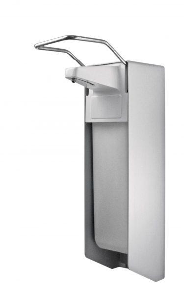 TEMDEX Desinfektionsmittel- & Seifen-Spender Aluminium, 500 ml, kurzer Armhebel, Kunststoffpumpe