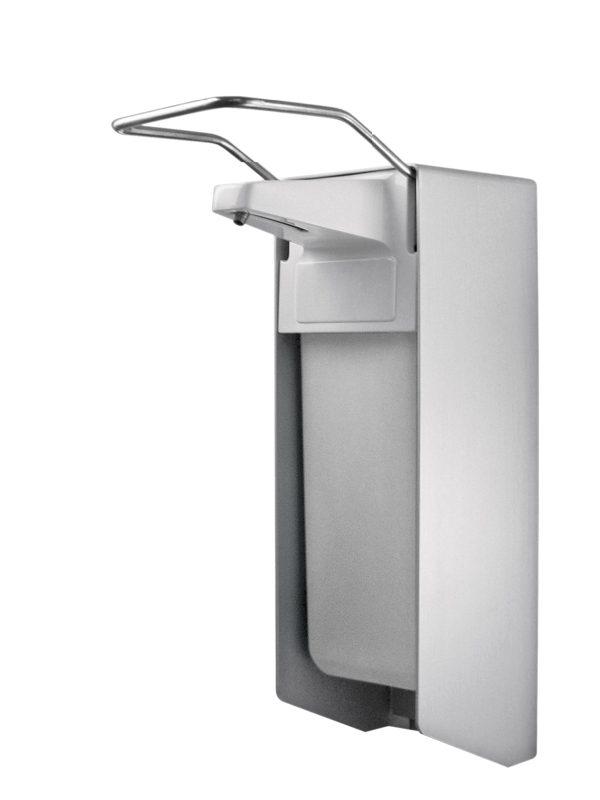 TEMDEX Desinfektionsmittel- & Seifen-Spender Aluminium, 1.000 ml, kurzer Armhebel, Kunststoffpumpe