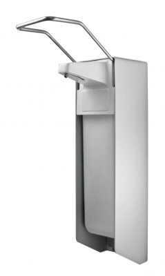 TEMDEX Desinfektionsmittel- & Seifen-Spender Aluminium, 1.000 ml, langer Armhebel, Kunststoffpumpe