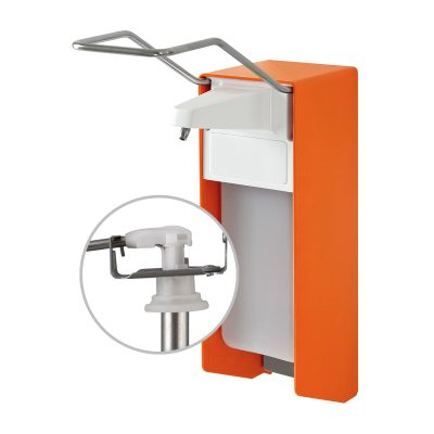 TEMDEX® Desinfektionsmittel- & Seifen-Spender Aluminium orange, 500 ml, langer Armhebel, Edelstahlpumpe 1