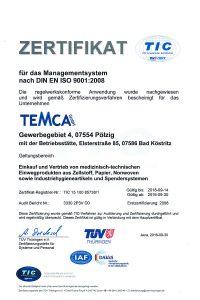 Temca GmbH: Zertifizierung nach ISO 9001:2008